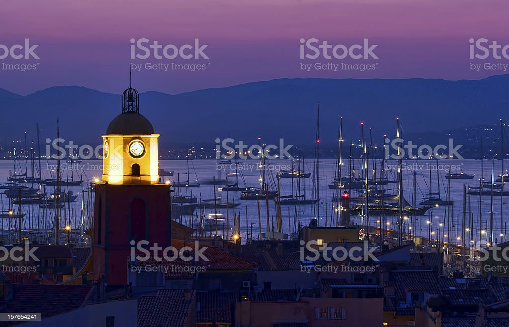 Sunset at pier at Saint Tropez stock photo