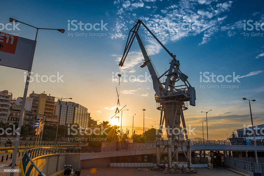 Sunset at Piraeus Port stock photo