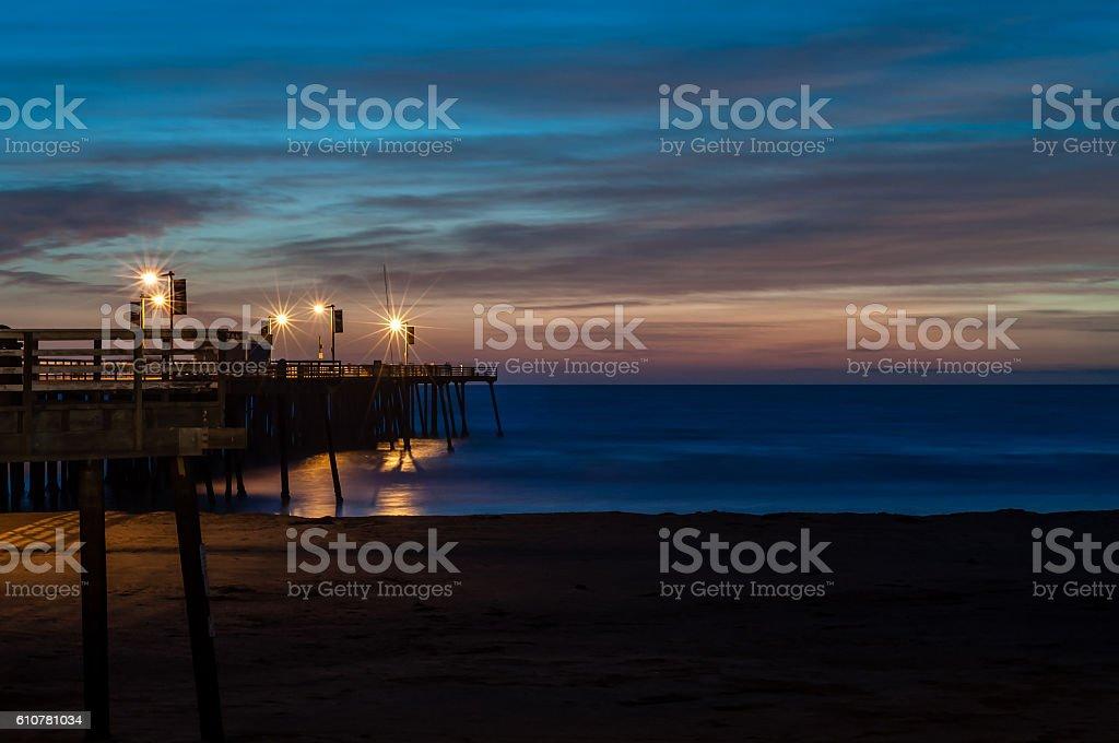 Sunset at Pismo Beach Pier stock photo