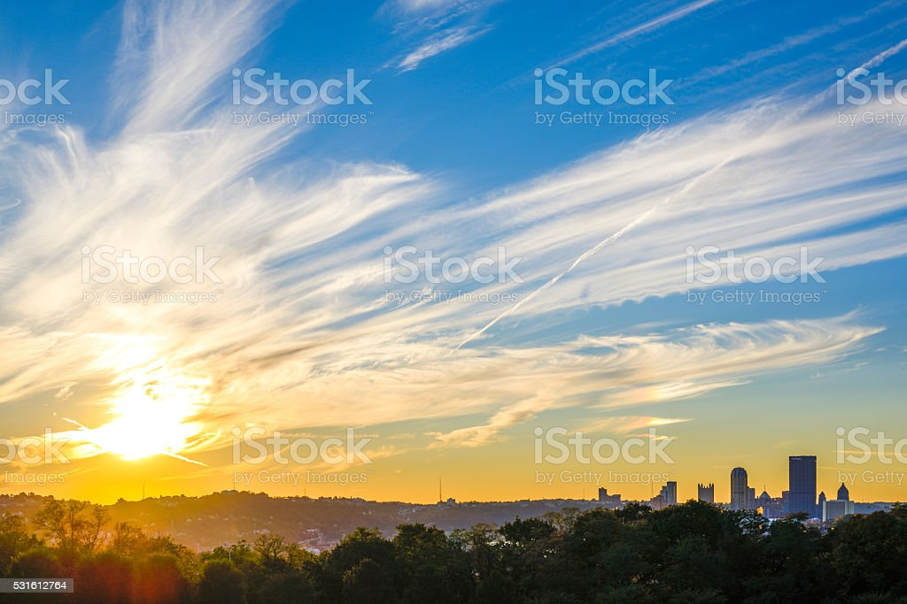 Sunset at Pittsburgh stock photo