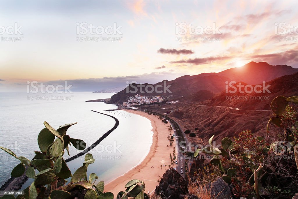 Sunset at Playa de Las Teresitas in Tenerife, Canary Islands stock photo