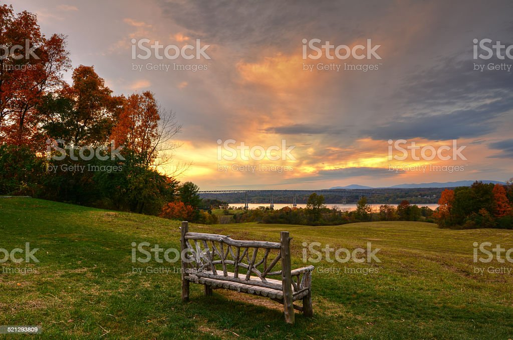 Sunset at Poet's Walk Park - Red Hook, NY. stock photo