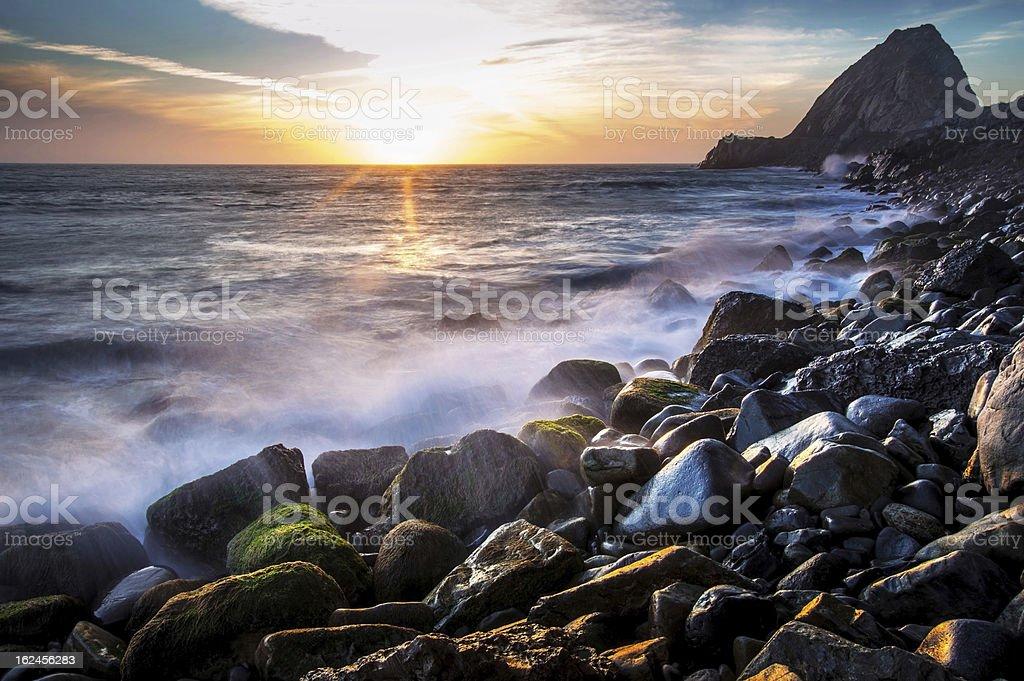 Sunset at Point Mugu stock photo