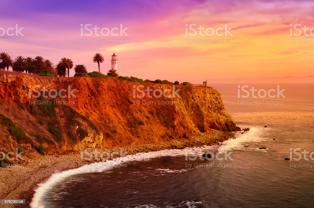 Sunset at Point Vicente stock photo