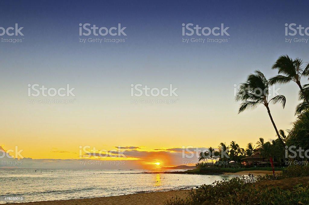 sunset at Poipu Beach Park - Kauai stock photo