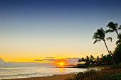 sunset at Poipu Beach Park - Kauai