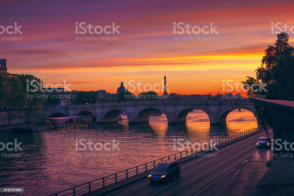 Sunset at Pont Neuf in Paris stock photo