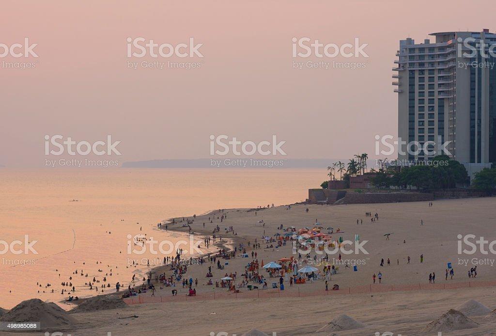 Sunset at Ponta Negra Beach stock photo