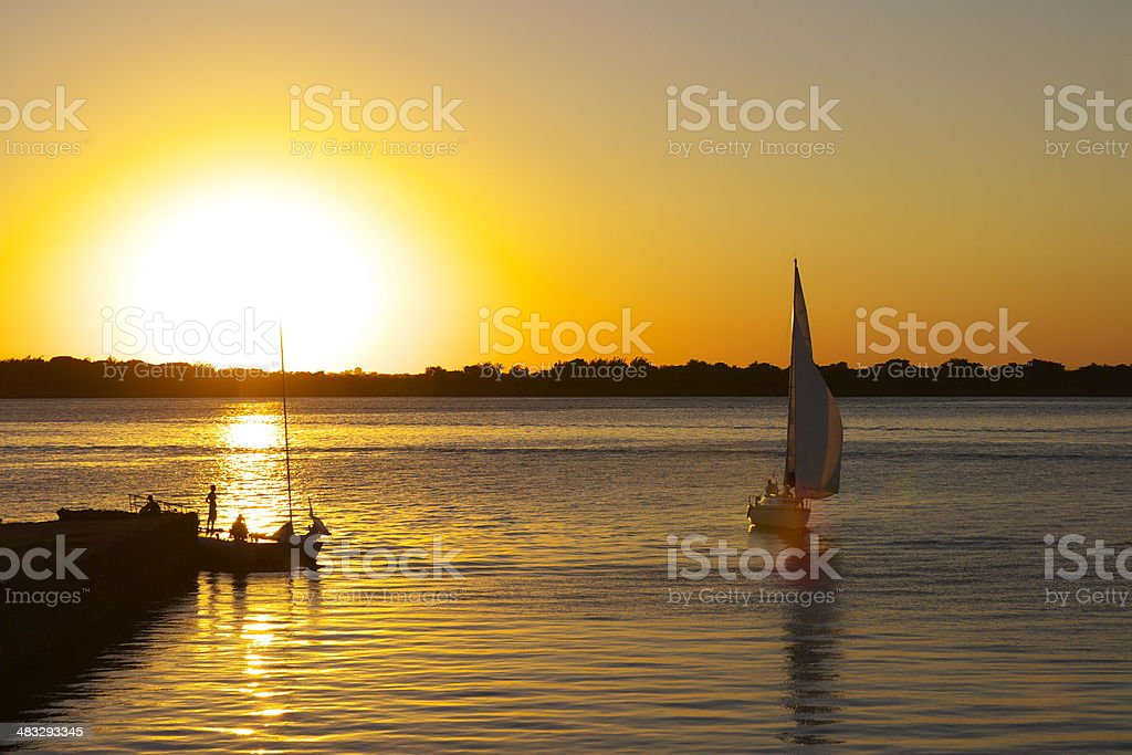 Sunset at Porto Alegre stock photo