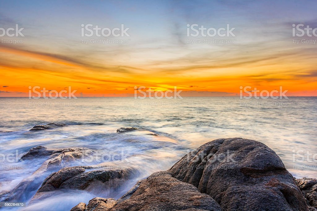 sunset at Promthep Cape in Phuket southern Thailand stock photo