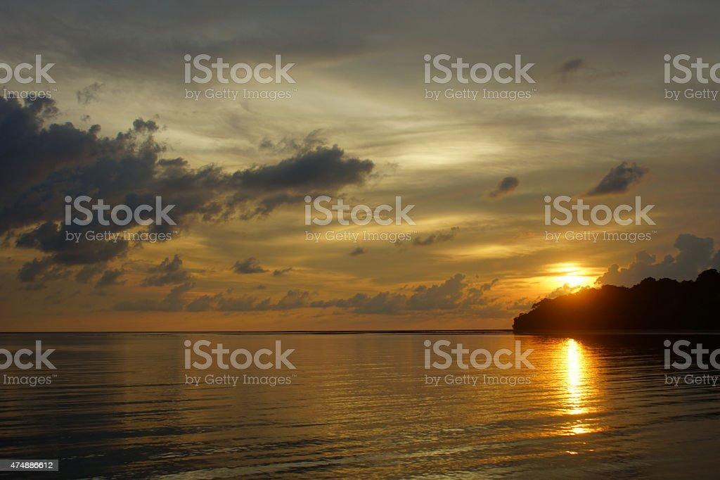 Sunset at Pulau Tiga - Borneo stock photo