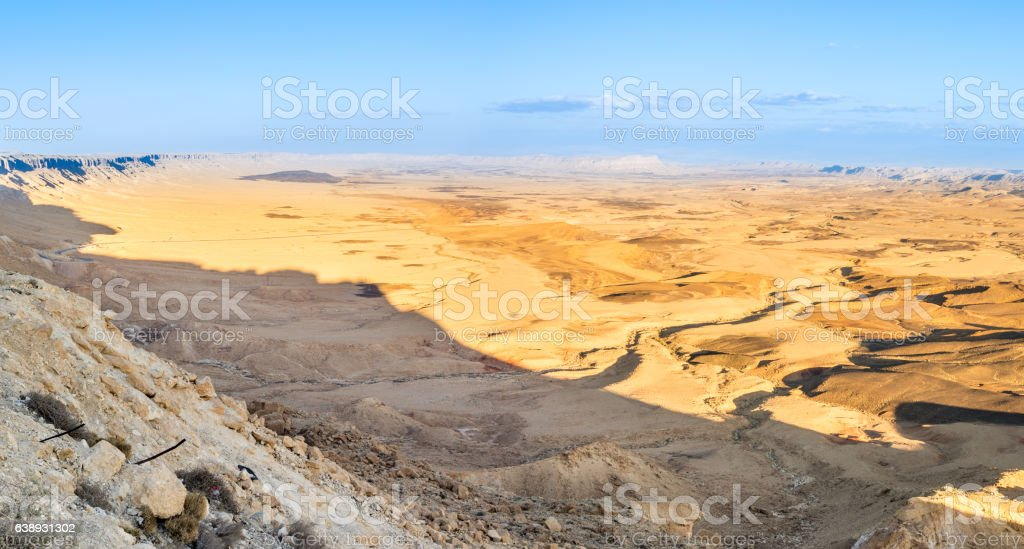 Sunset at Ramon Crater (Makhtesh) stock photo