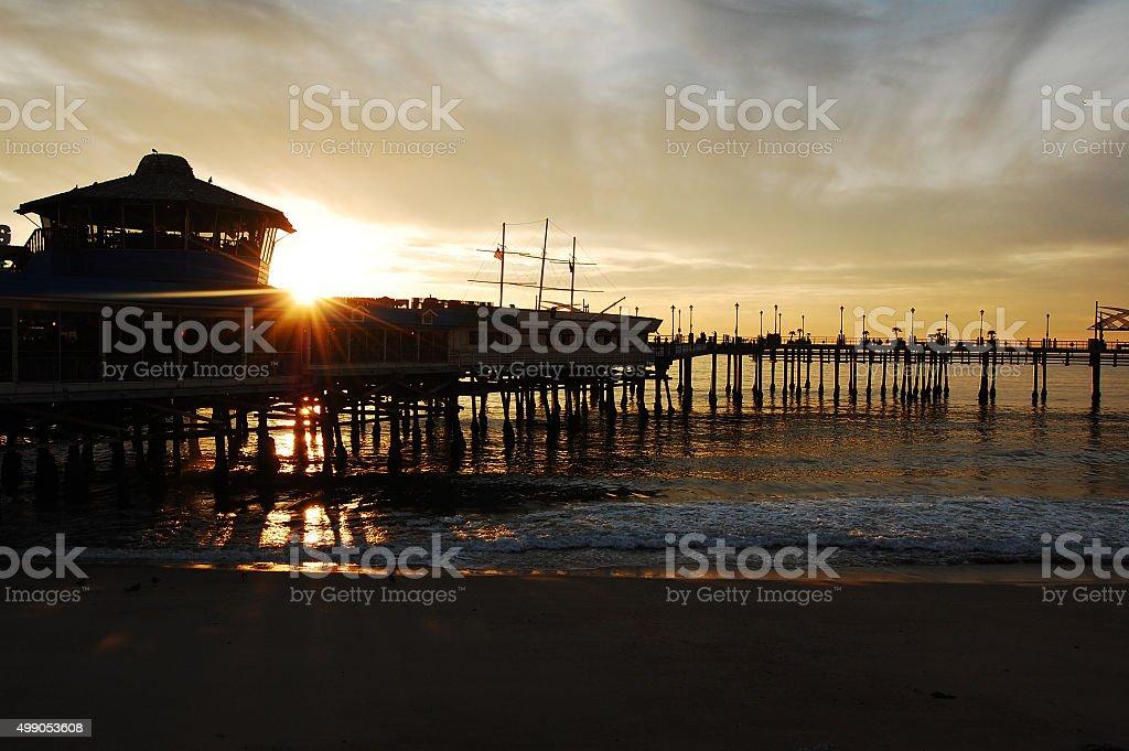 Sunset at Redondo Beach Pier stock photo