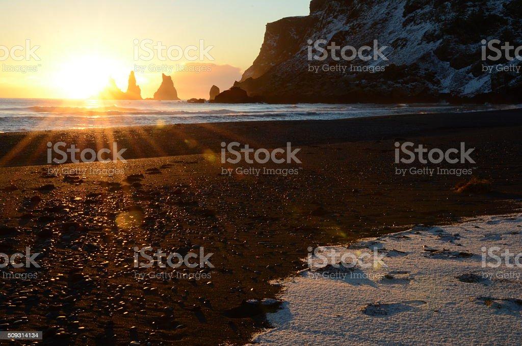Sunset at Reynisdrangar stock photo