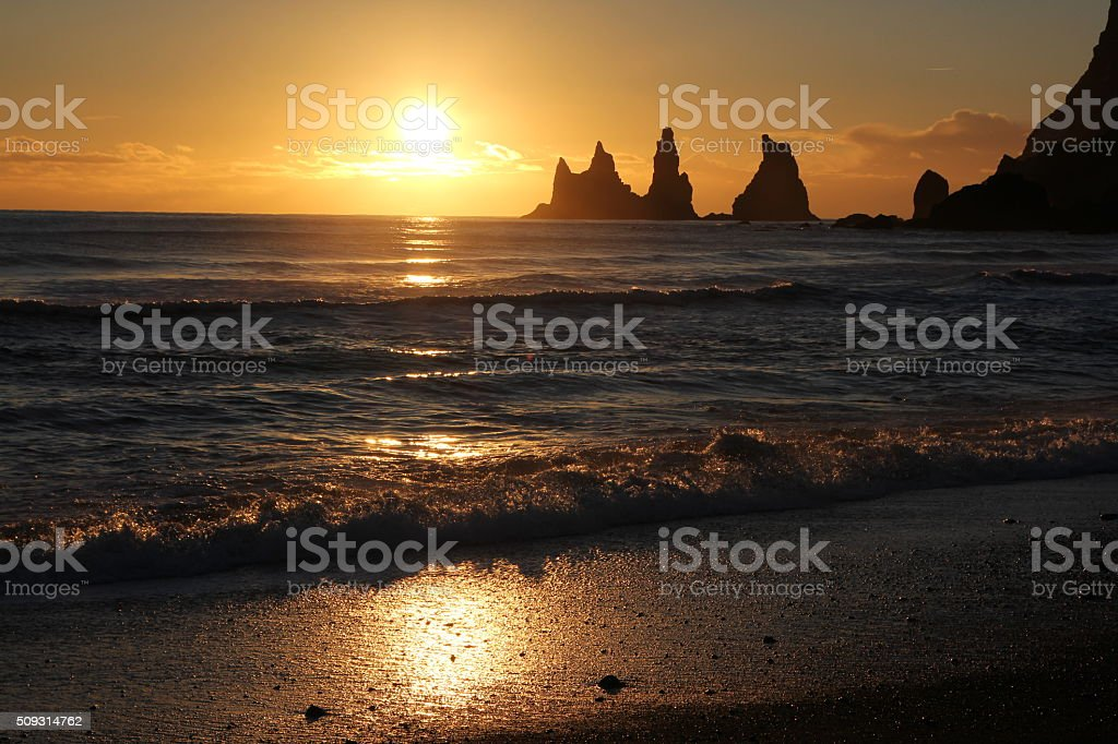 Sunset at Reynisdrangar stock photo