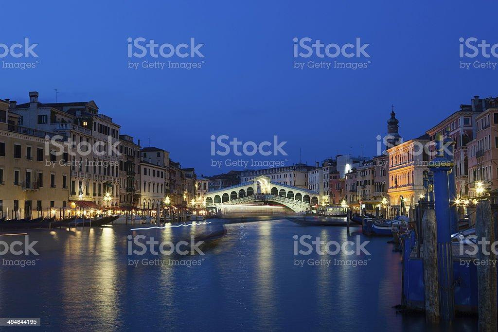 Sunset at Rialto Bridge, Venice, Italy royalty-free stock photo