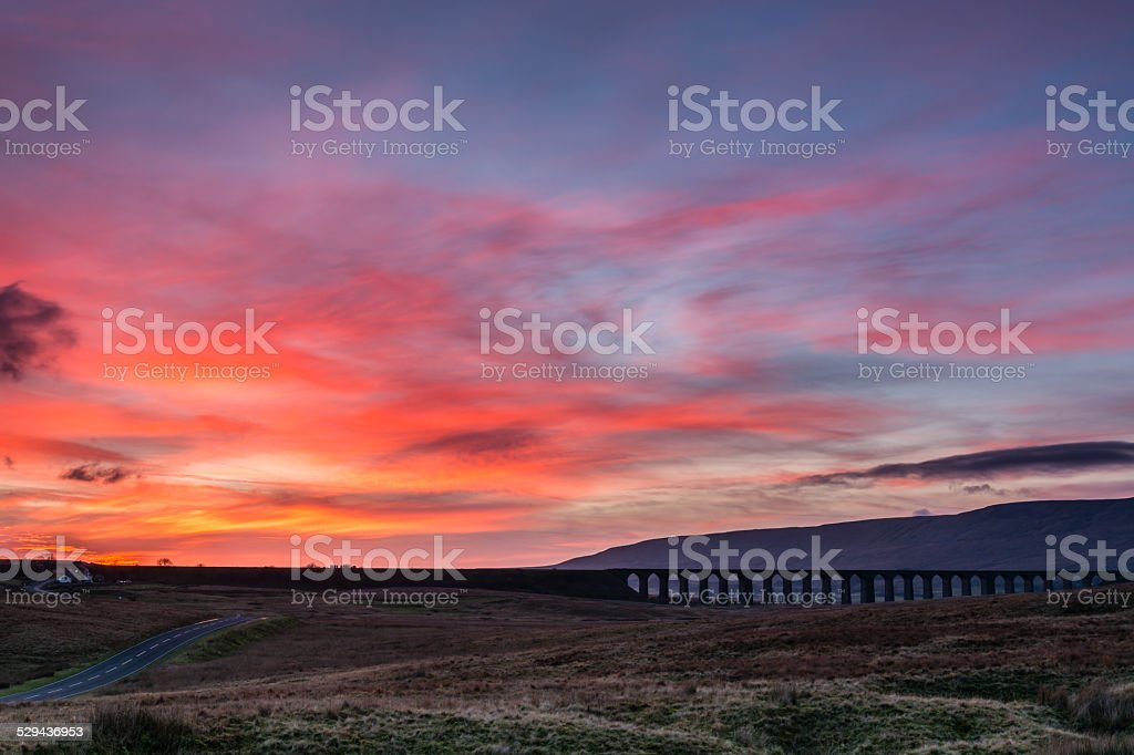 Sunset at Ribblehead Viaduct stock photo