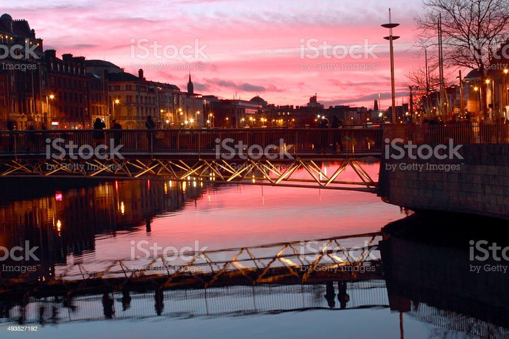 Sunset at River Liffey, Dublin stock photo
