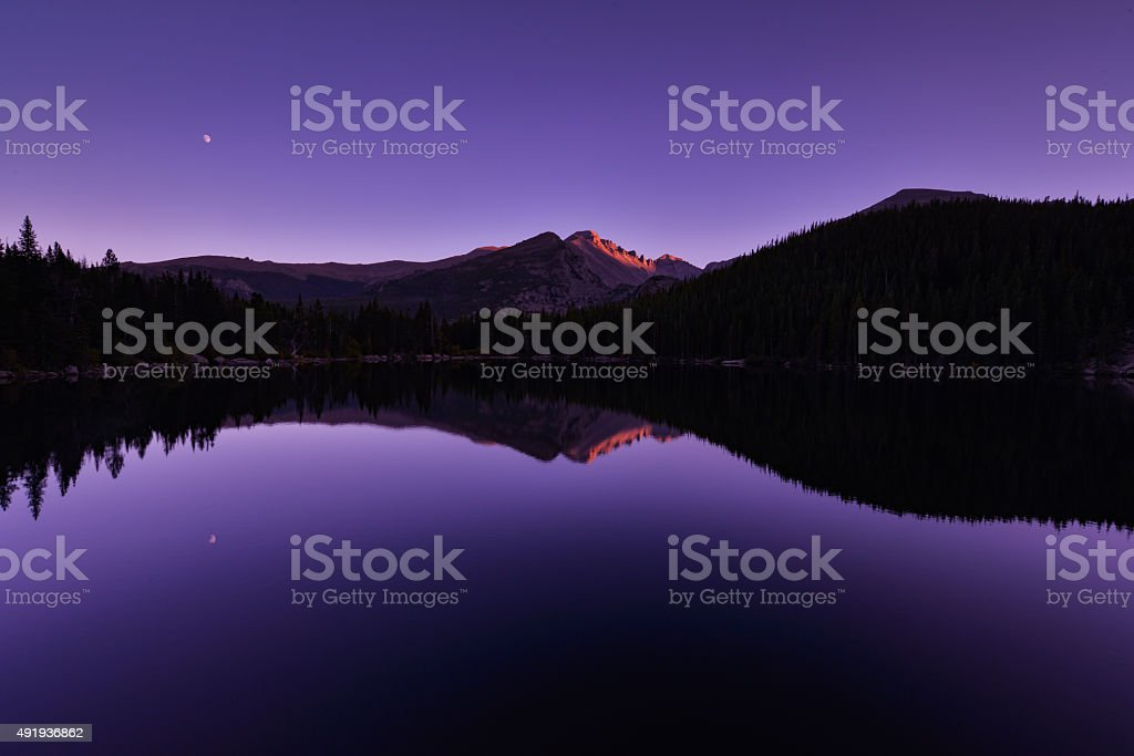 Sunset at Rocky Mountain National Park stock photo