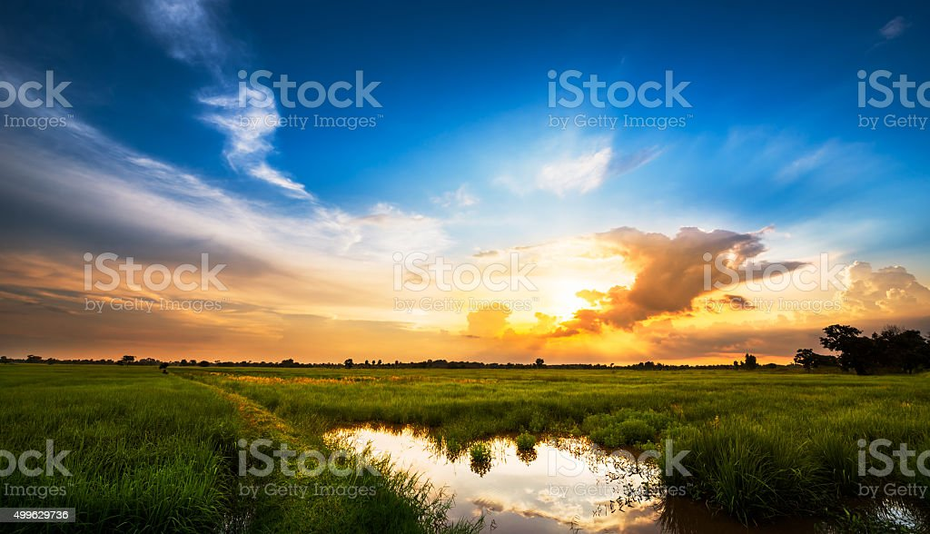 Sunset at rural scene stock photo