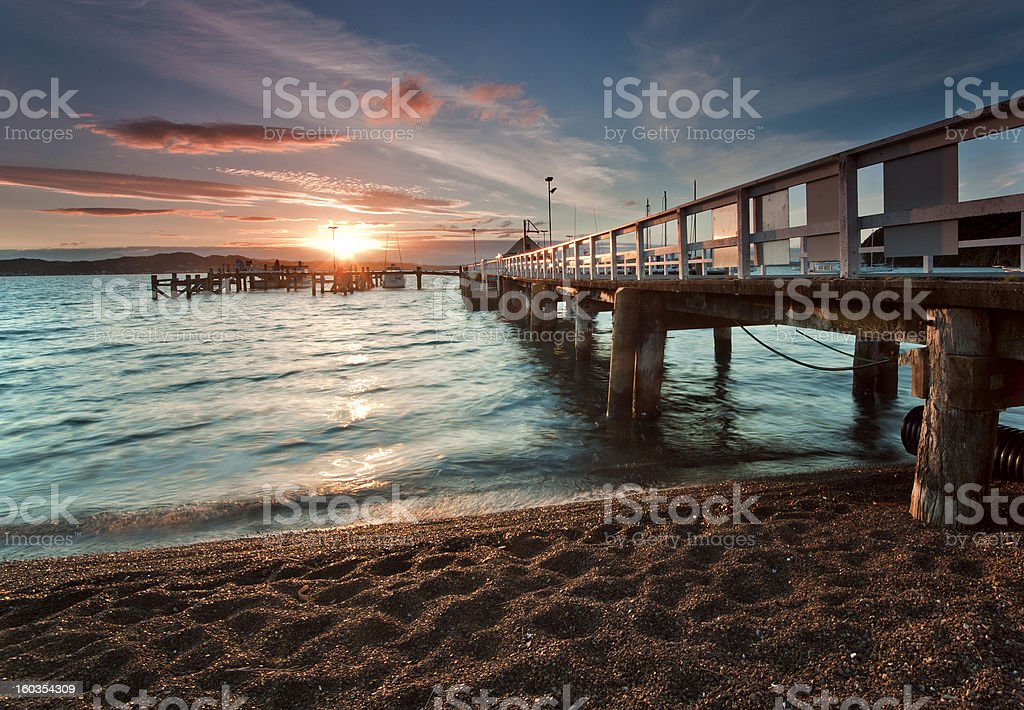 Sunset at Russell, Bay of Islands, New Zealand stock photo