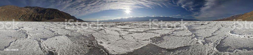 Sunset at Salt Lake Badwater (Panorama) royalty-free stock photo