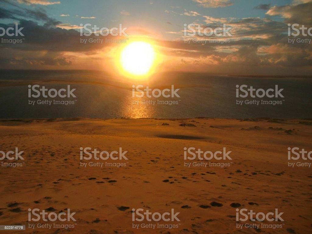 Sunset at Sand Dune Dune de Pyla, France. stock photo