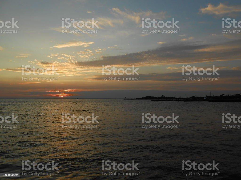 Sunset at Sandy Hook Beach. stock photo