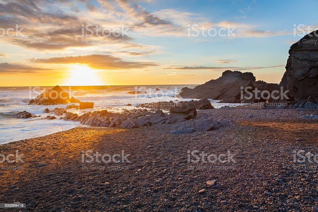 Sunset at Sandymouth Beach Cornwall stock photo