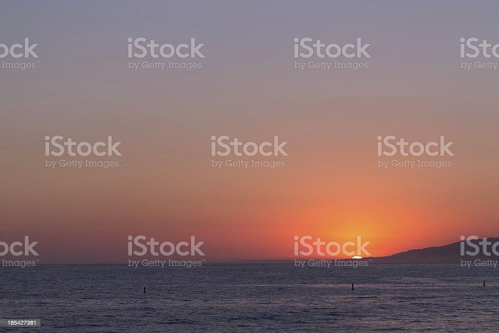 sunset at Santa Monica Beach royalty-free stock photo