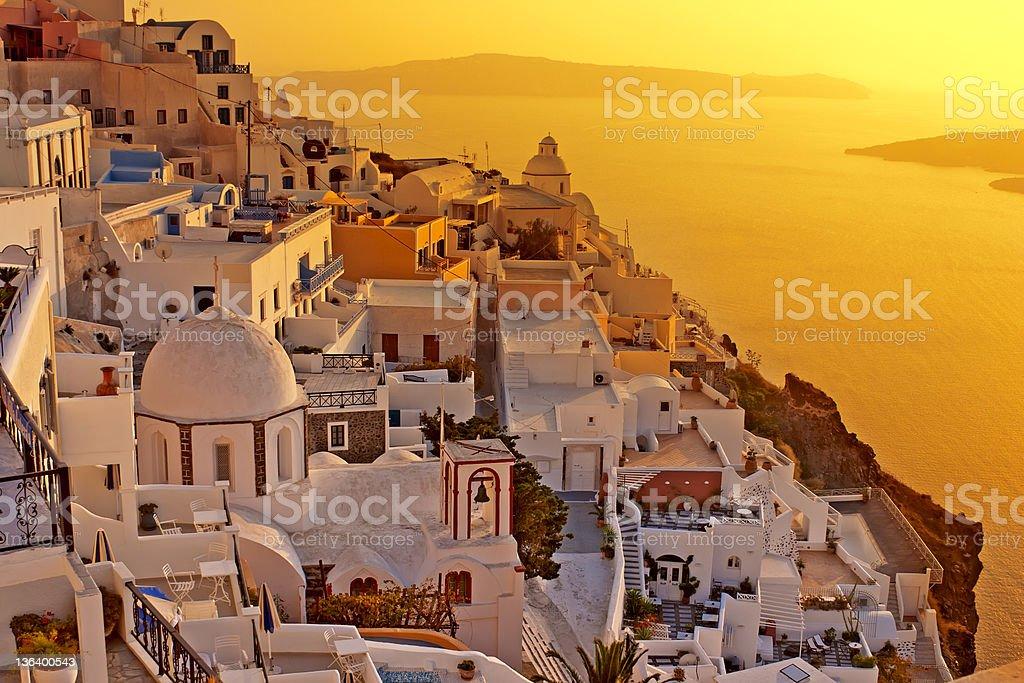 Sunset at Santorini island , Greek church with a cross royalty-free stock photo