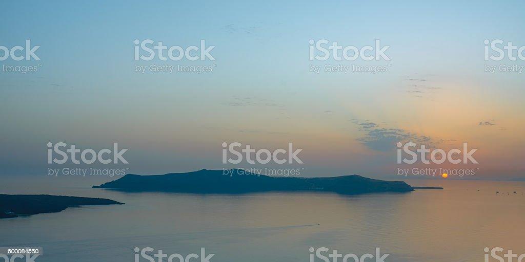 Sunset at Santorini stock photo