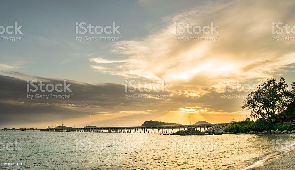 sunset at sattaheeb stock photo