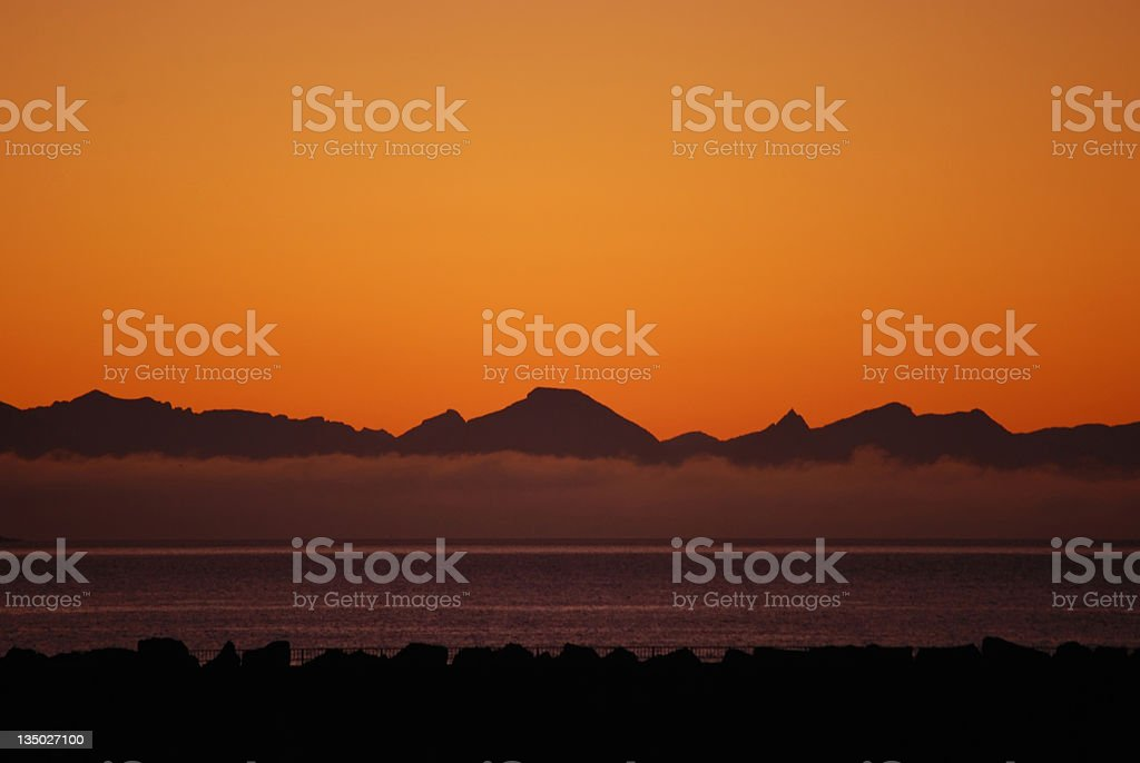 sunset at seaside stock photo