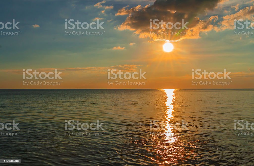 sunset at seaside. stock photo