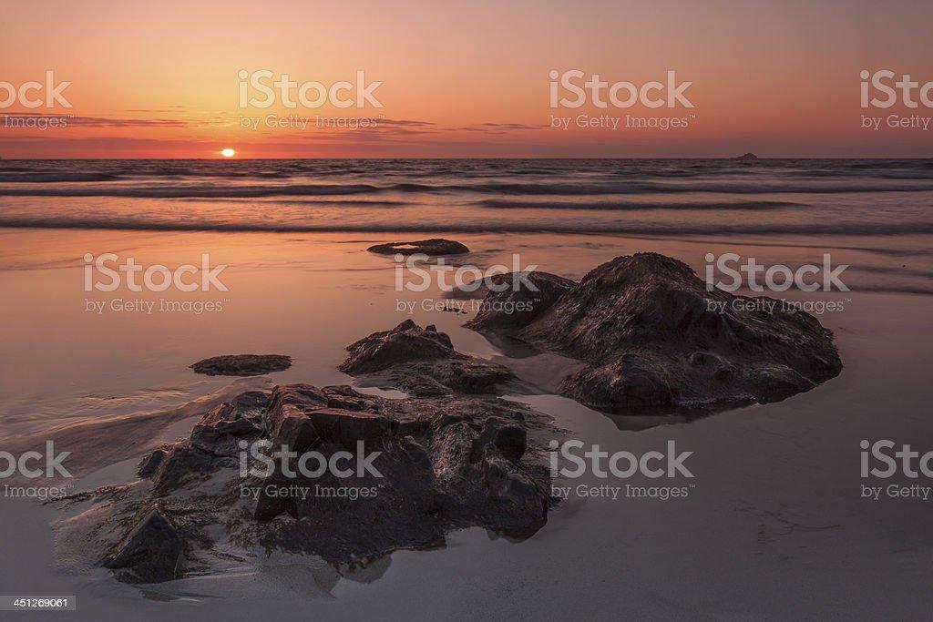 Sunset at Sennen Beach, Cornwall stock photo