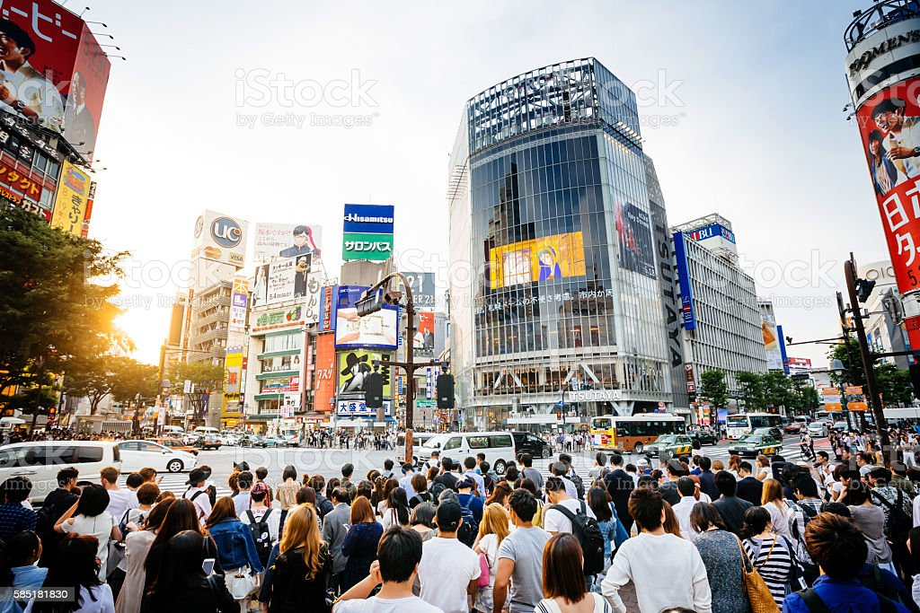 Sunset at Shibuya Crossing In Tokyo, Japan stock photo