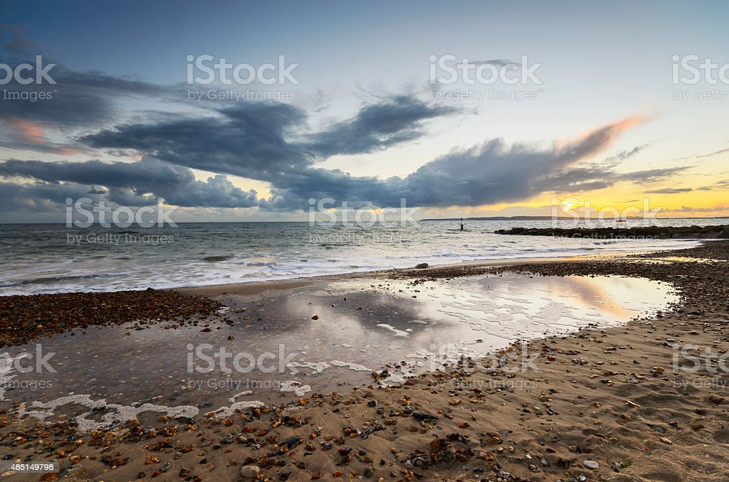 Sunset at Solent Beach on Hengistbury Head near Christchurch stock photo