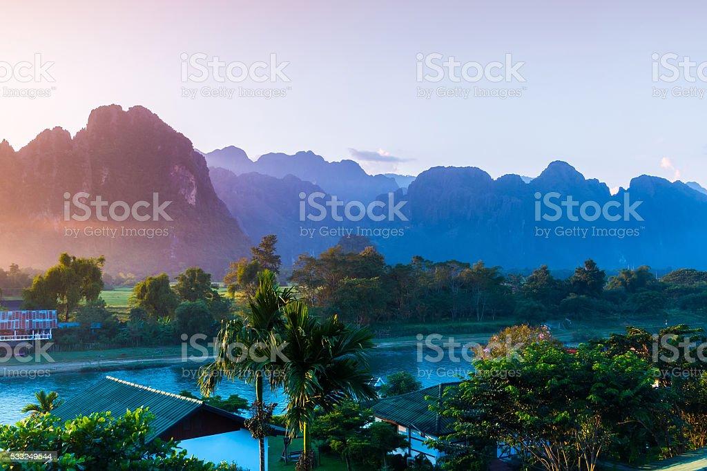 Sunset at Song river, Vang Vieng, Laos stock photo