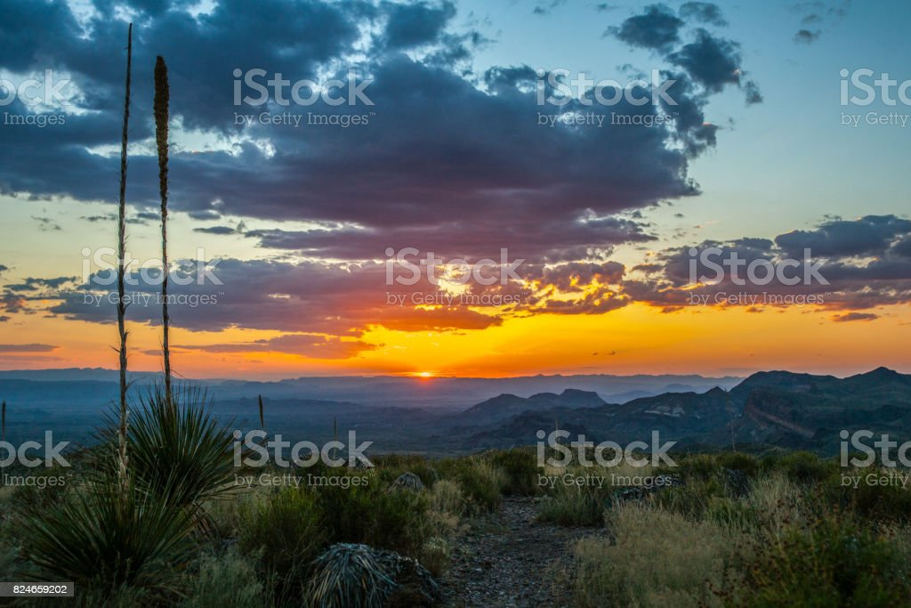 Sunset at Sotol Vista stock photo