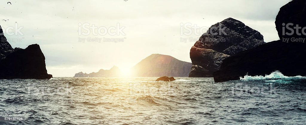 Sunset at St Kilda Archipelago in the Outer Hebrides stock photo