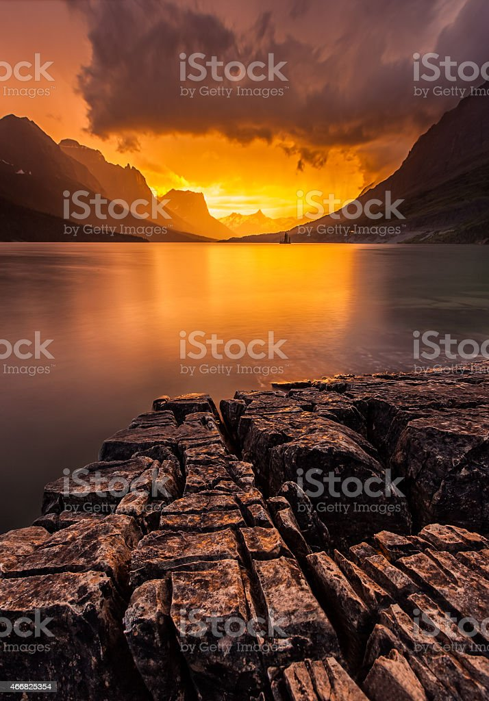 sunset at St. Mary Lake, Glacier national park, MT stock photo
