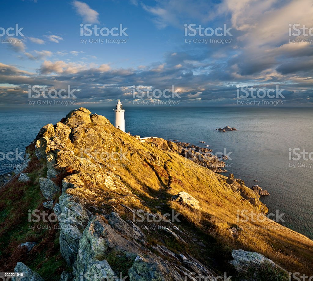 Sunset at Start Point on Devon's south coast stock photo