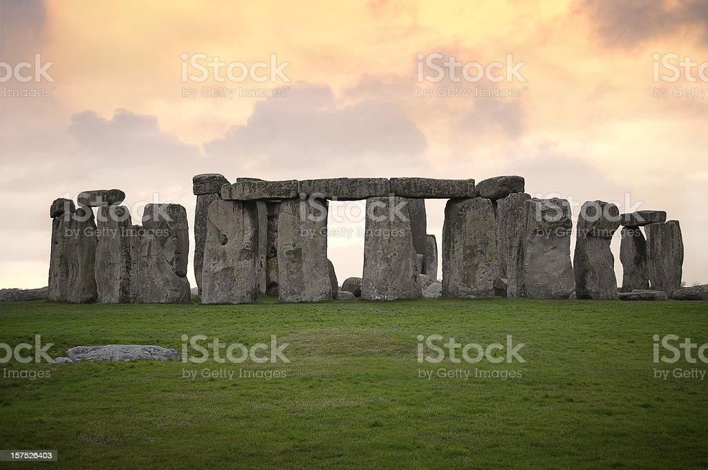 Sunset at Stonehenge stock photo