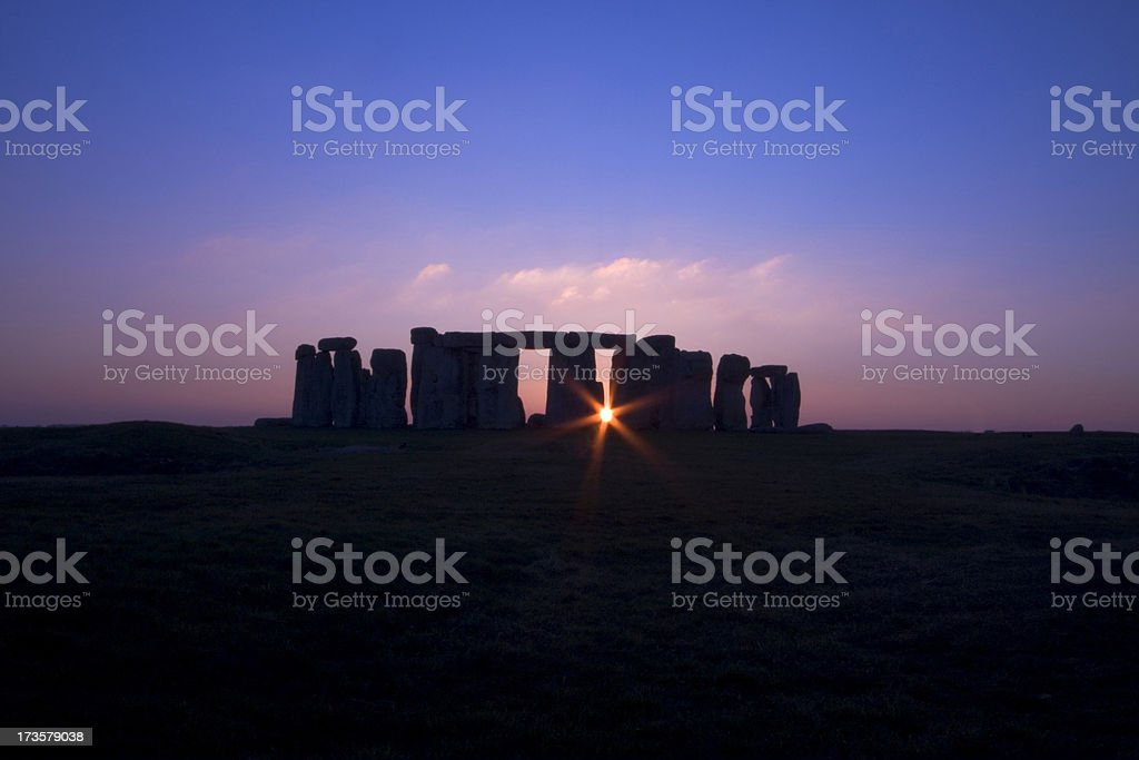 Sunset at Stonehenge stock photo