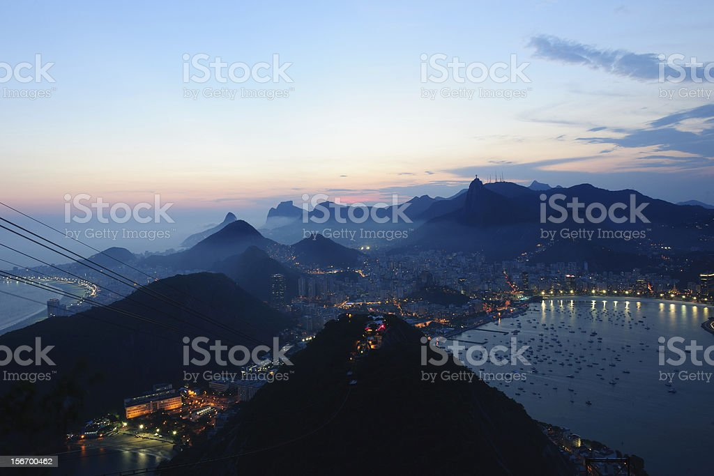 sunset at sugarloaf mountain rio de janiero view to corcovado stock photo