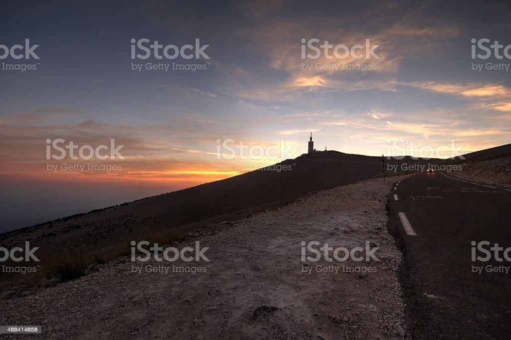 Sunset at summit of Mont Ventoux. stock photo