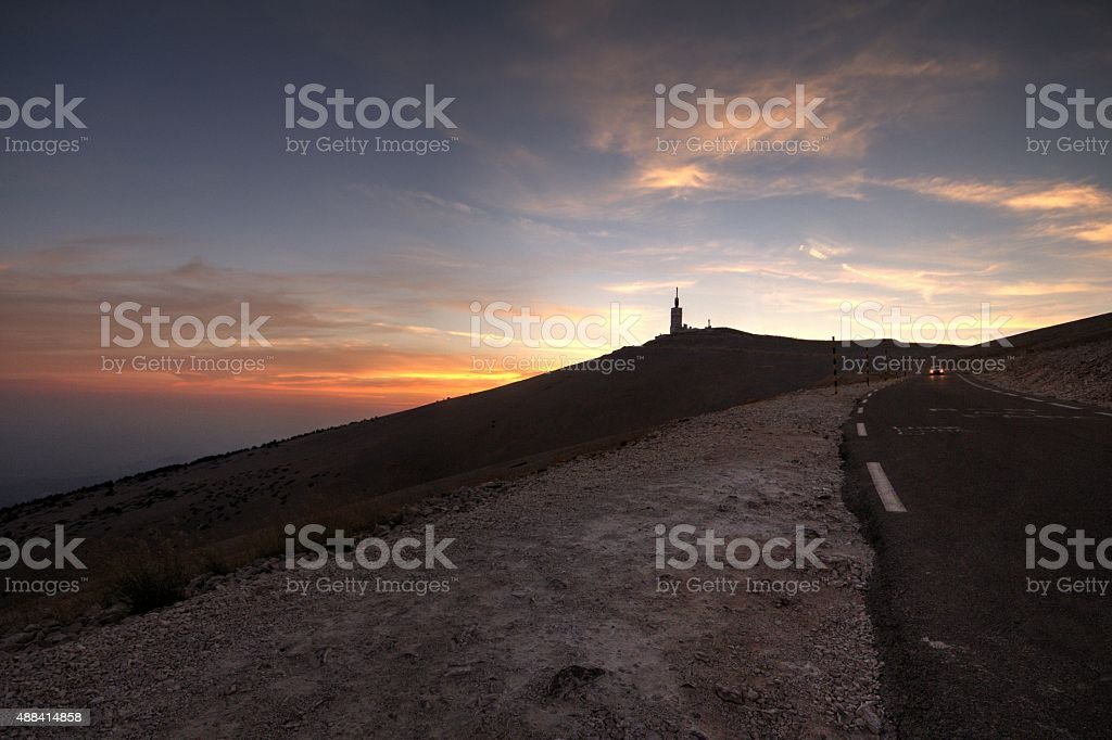 Sunset at summit of Mont Ventoux. stock photo