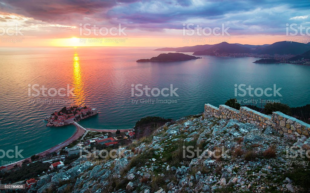 Sunset at Sveti Stefan, Montenegro stock photo