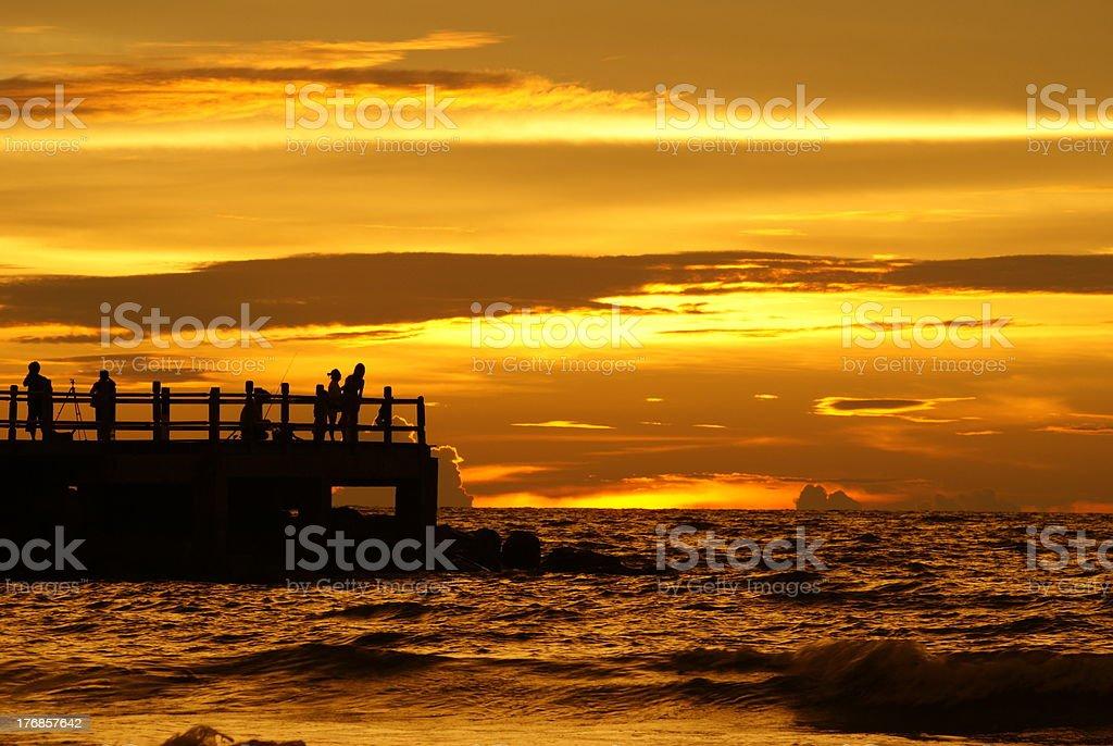 Sunset at Pantai Tanjung Lobang royalty-free stock photo